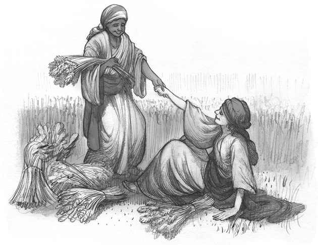 Woman in field, helping her friend after a fall.