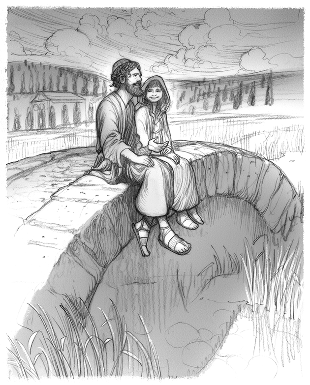 Couple sitting together on a stone bridge, in pastoral setting.